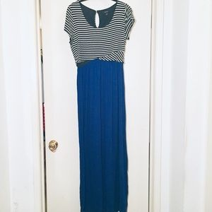 Black/white and Cobalt Blue Maxi Dress - Large